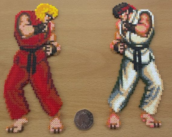 Street Fighter  Ken and Ryu perler bead sprite by PixelBeadPictures