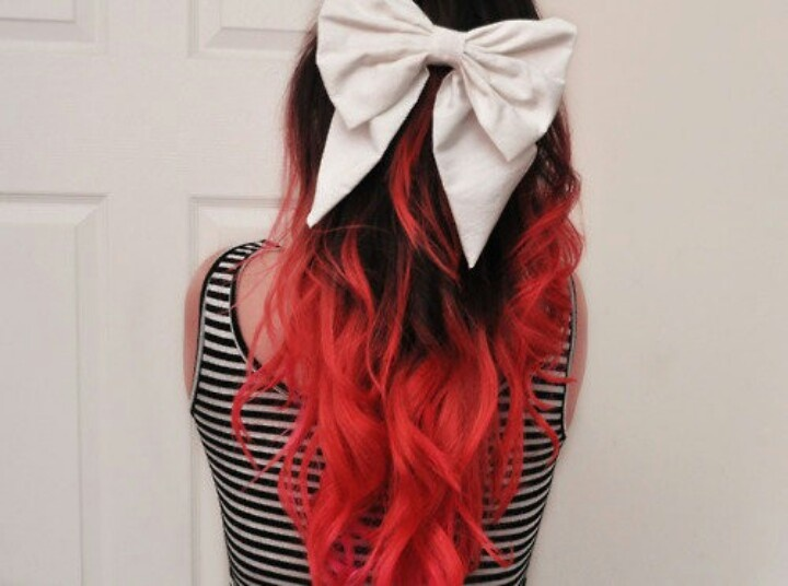 Black to red ombre hair with a cute bow | Hair ideas ...