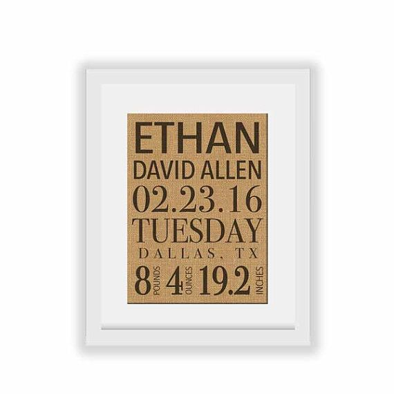 Check out this item in my Etsy shop https://www.etsy.com/ca/listing/289475089/birth-announcement-burlap-print