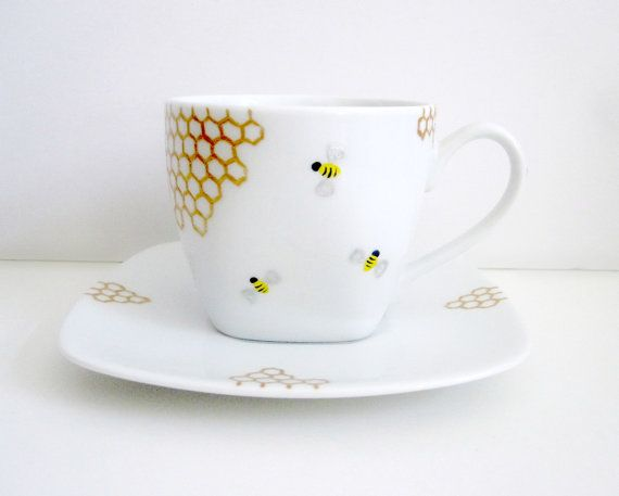 Bees and Golden Honey Combs Teacup and Saucer by SwirlyGarden, $26.00 >> So cute!