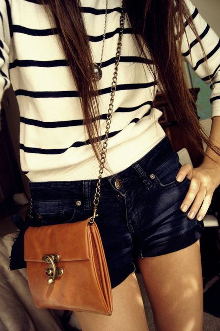 : Hipster Fashion, Shoulder Bags, Fashion Outfits, Long Hair, Stripes Sweaters, Stripes Shirts, Cute Summer Outfits, Jeans Shorts, Summer Clothing