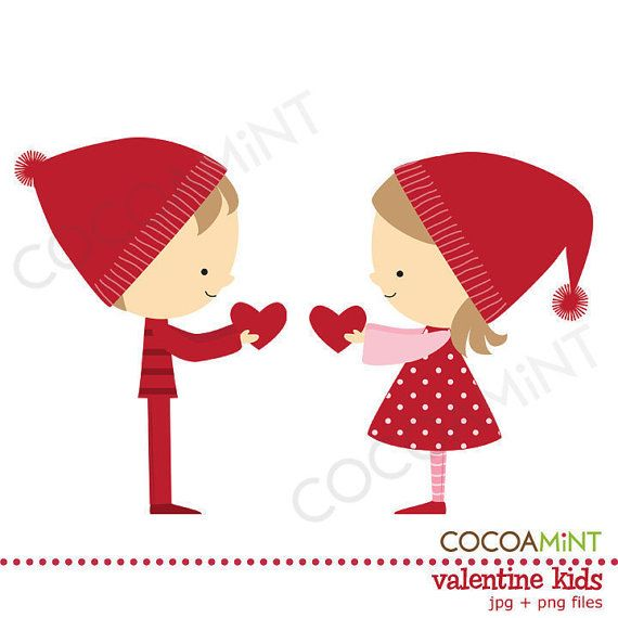Valentine Kids Clip Art by cocoamint on Etsy, $2.00