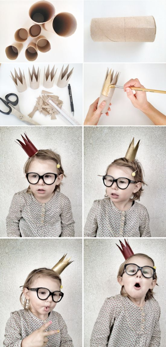 DIY Toilet Paper Roll Crowns - These are so adorable! There are also DIY TP Roll Dr. Seuss Cat in the Hat inspired hats!