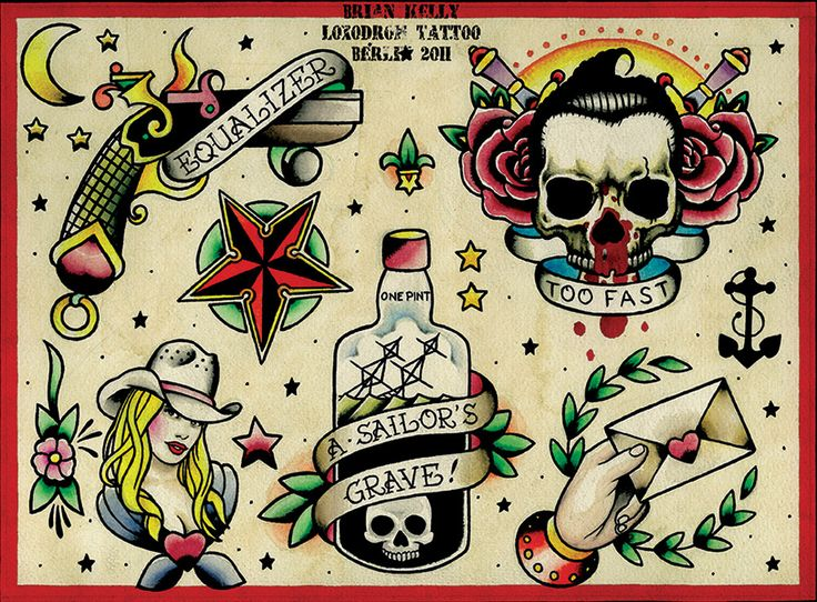 This traditional tattoo flash art print features a cowgirl, nautical star, and a ship in a bottle with a banner that reads Sailor's Grave! Title: Flash 3 Artist: Brian Kelly Made-to-order giclee fine