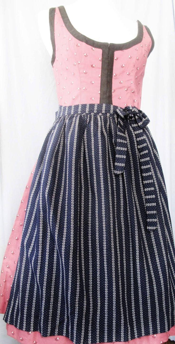 Blue apron germany - Dirndl Dress Trachten Tostmann Maroon Blue Apron Size 40 Us 10 Cotton Austrian Bavarian Swiss