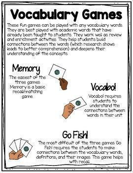 These fun games can be played with any vocabulary words. They are best played with academic words that have already been taught to students. They work well as review and enrichment activities. They help students build connections between the words (which research shows leads to better