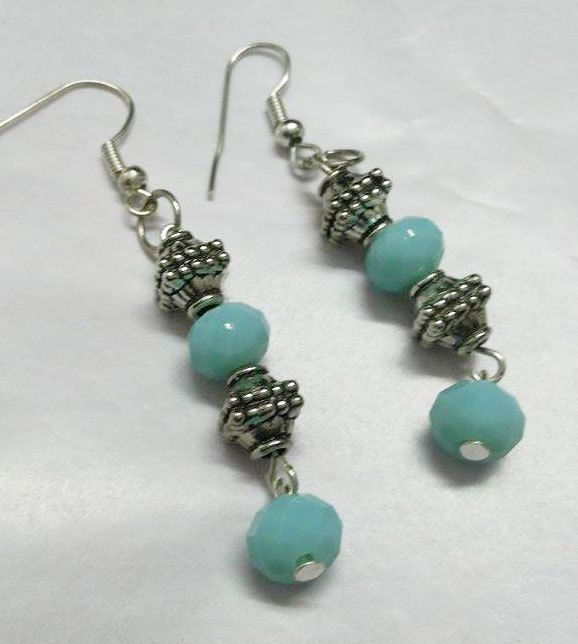 Drop Earrings Danglers Blue Beads Silver Finish Spacers Handmade Jewelry Earrings Indian Jewelry by KnotnStitch on Etsy