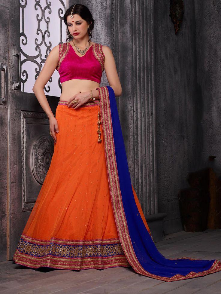Buy Orange Net Lehenga Choli with Diamond Work Online at Best Price for Women - CCAA2015 - Saree.com