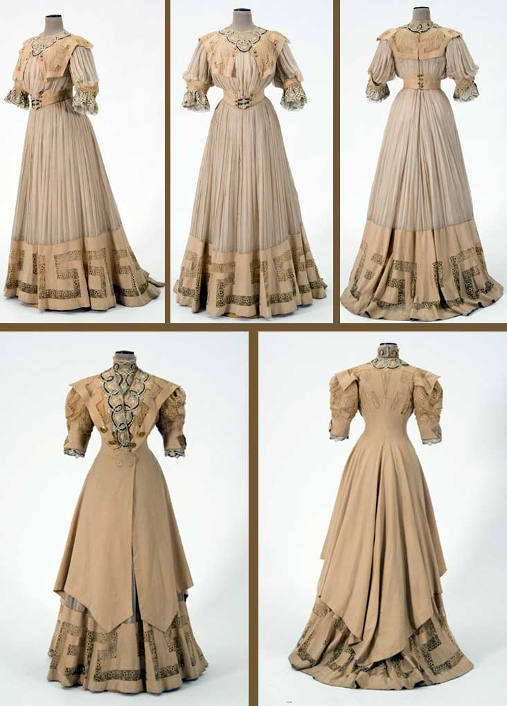 Suit, Katherine Kiernan, St. Paul, MN, ca. 1905. Light yellowish brown wool & yellowish white silk chiffon trimmed w/lace of embroidered net underlaid w/cloth of black & gold threads. Suit day bodice has tunic-length jacket open from waist w/uneven hemline & train. Boned bodice dickey attached. Full-length trained chiffon skirt pleated to waistband; woolen border & embroidered net at hem. Pleated chiffon evening bodice w/round neck. Minnesota Historical Society