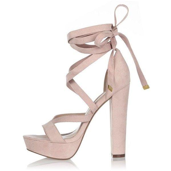 River Island Pink tie-up platform heels ($110) ❤ liked on Polyvore featuring shoes, heels, pink, platforms, shoes / boots, women, platform lace up shoes, tie shoes, river island shoes and river island