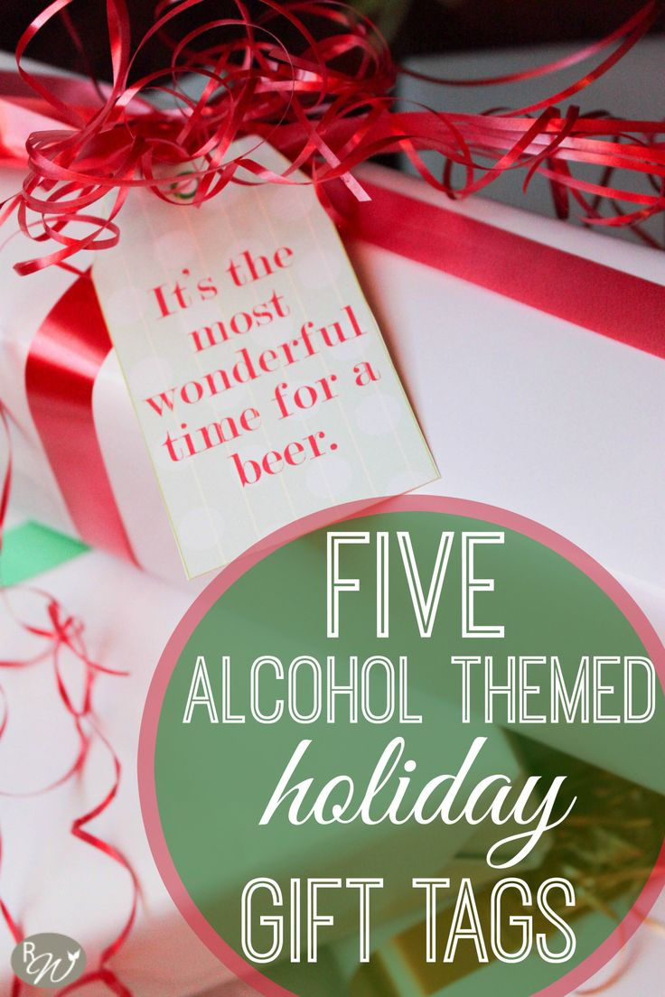 Alcohol themed gift tags for an adult holiday party.                                                                                                                                                                                 More