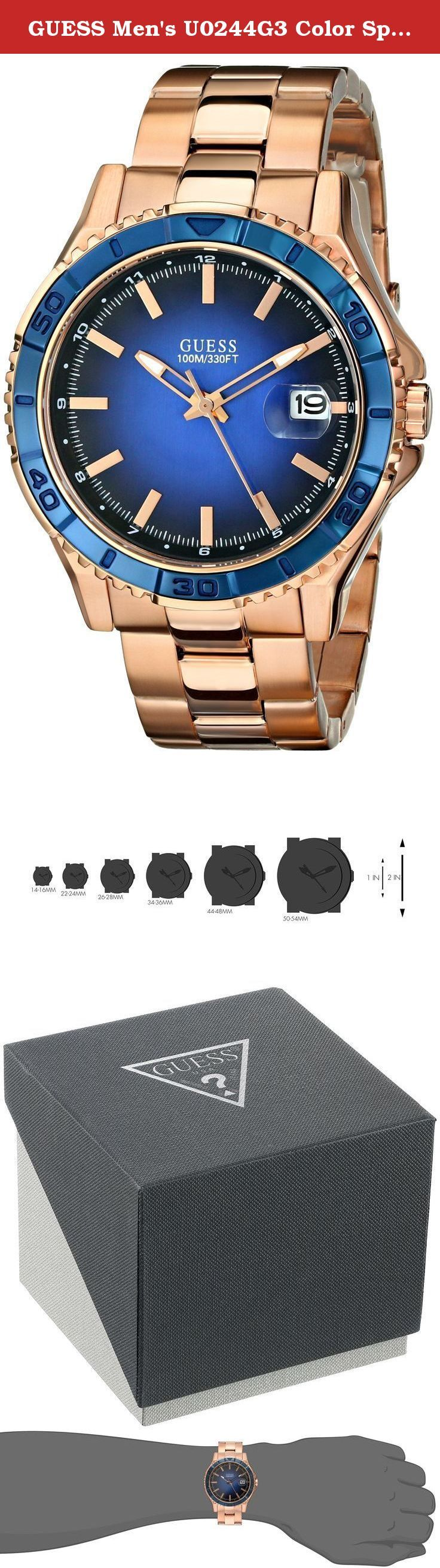 GUESS Men's U0244G3 Color Sport Blue Dial Rose Gold-Tone Watch. Define Your Time with this GUESS Stunning Rose Gold-Tone Watch with Blue Dial & Date that Stands Apart from the Rest & is Unisex, a Perfect Hybrid for Him or Her.