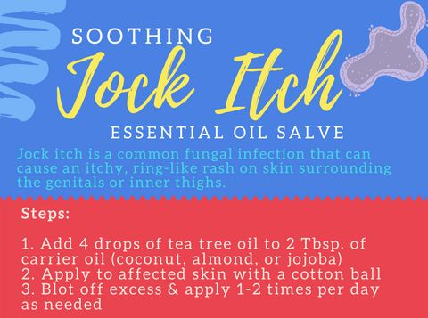 Jock itch is a common fungal infection that can cause an itchy, ring-like rash on skin surrounding the genitals or inner thighs.  For an easy home remedy to stop itching, tea tree essential oil is a great solution.