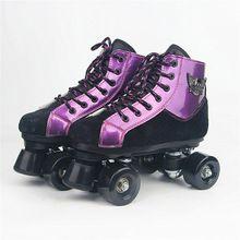 Patines Negro Púrpura cabeza Del Cráneo Con Ruedas de LA PU Doble línea de Zapatos de Patinaje sobre ruedas Patines Adultos 4 Ruedas de Dos líneas Patines