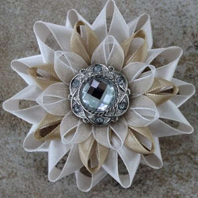 Beige Flower Corsage ~ Beige Flower Pin