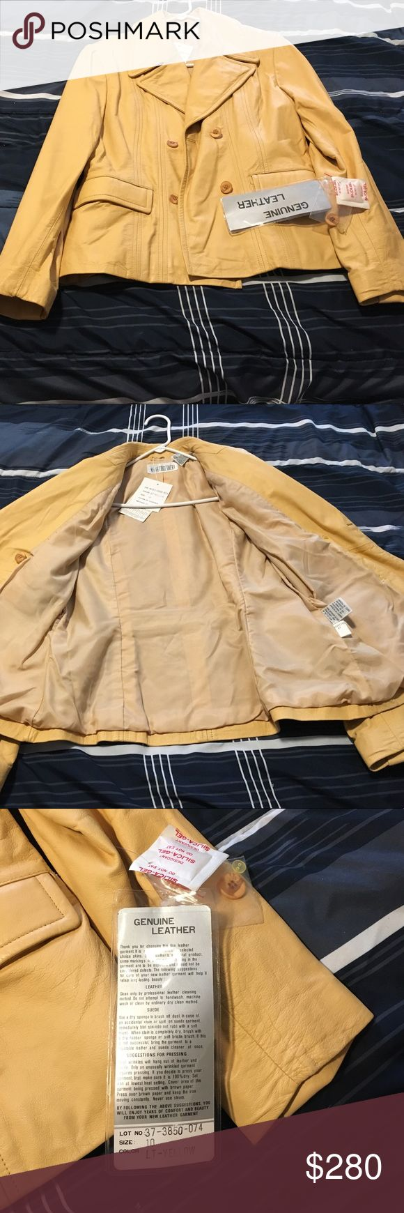 Tan leather jacket Genuine tan leather jacket. Never worn! Brand new. Beautiful. With tags! Jackets & Coats