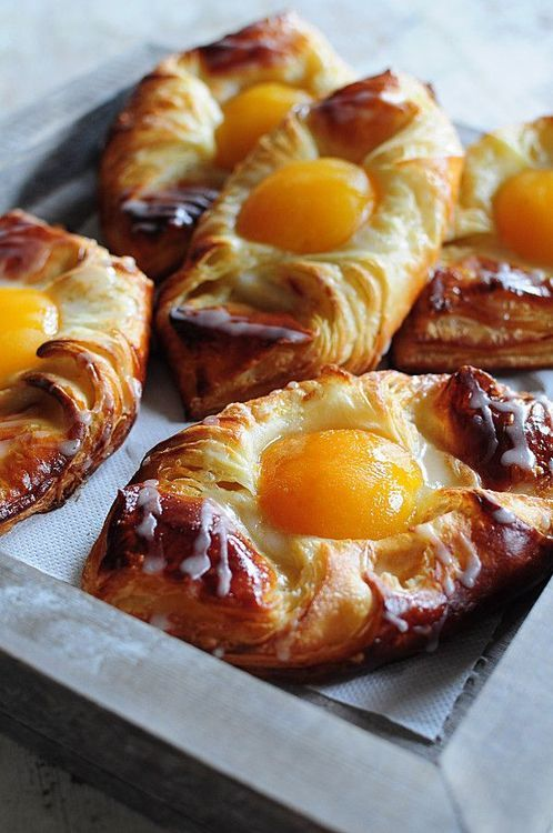 Apricot Danish Pastries- The apricot looks like an egg yolk, doesn't it? A bright tender center of golden sweetness wrapped in layers and layers-- maybe we should all hide away like this.