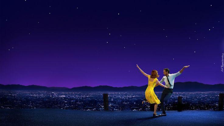 Film, La La Land, Emma Stone, Ryan Gosling, Taniec, Miasto nocą