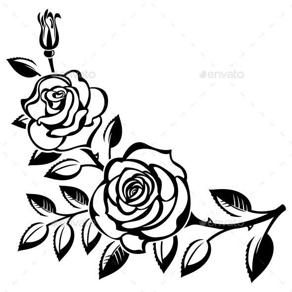 Image Result For Rose Branch Drawing Roses Drawing Rose Stencil Traditional Rose Tattoos