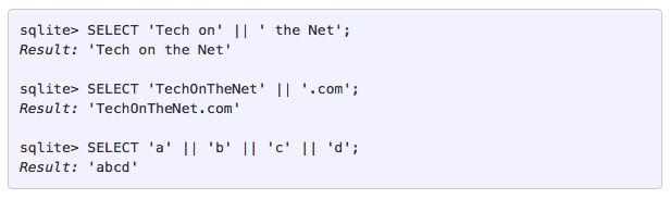 Concatenate strings in SQLite using the    operator
