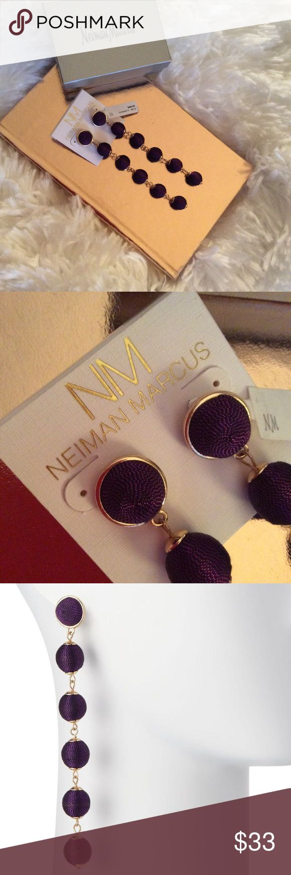 Neiman Marcus Purple Thread Wrapped Ball Earrings Pierced post back earrings.  Shiny yellow golden hardware.  Amethyst color.  Approximately 4.5 inches long.  Six thread wrapped drops.  Beautiful statement earrings.  Original cost $60.  Sale price $45. Neiman Marcus Jewelry Earrings #BallEarrings