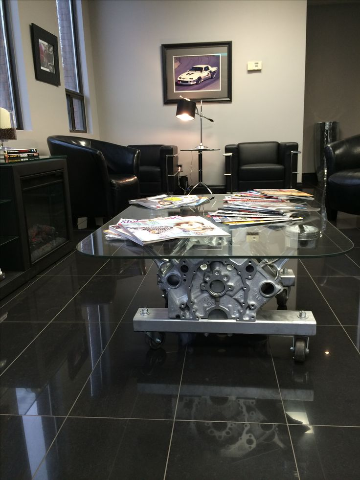 Engine table in the waiting room.