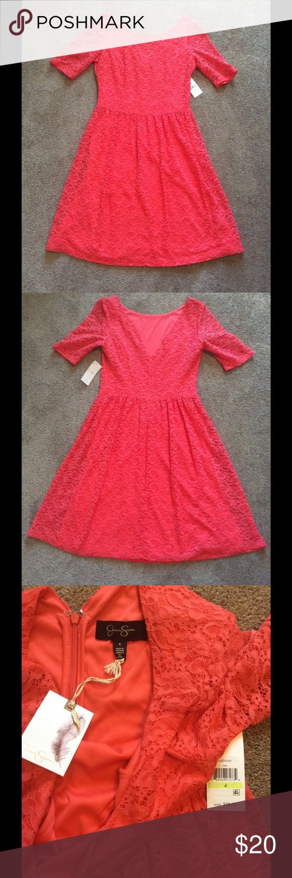 NWT Jessica Simpson Coral Lace Dress NWT Jessica Simpson Coral Lace Dress with Sheer Lace Sleeves, Size 4, Dress has scattered areas of small puller-like fuzzy spots as pictured but doesn't look terrible because of the lace pattern (mostly underneath the sleeves and on sides), Could probably be cleaned up if u wanted to take the time, definitely still wearable as is, Price reflects Jessica Simpson Dresses