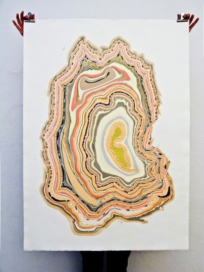 marbled paintings inspired by wood floors
