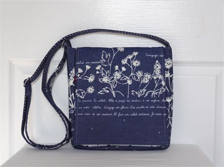 French Wordings Japanese Cotton Drill Messenger Bag - Custom Order for Jill