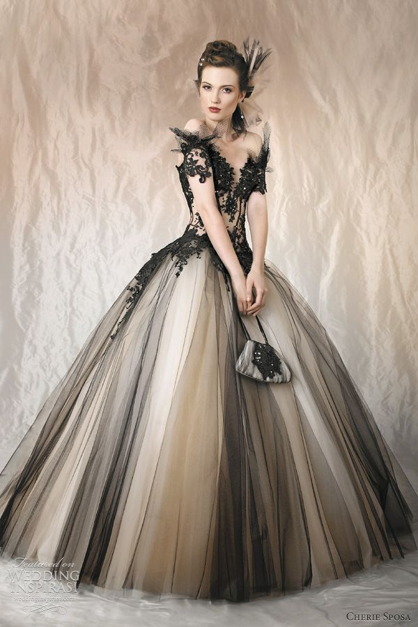 Black lace + tulle  gown by Cherie Sposa