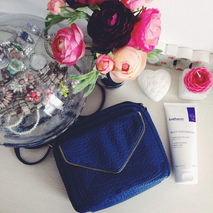 Blue New Look bag & Multi-Performance @ivatherm body cream   Sandra Bendre