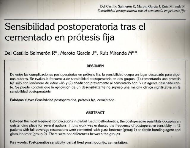 PDF: Sensibilidad postoperatoria tras el cementado en Prótesis Fija | Ovi Dental