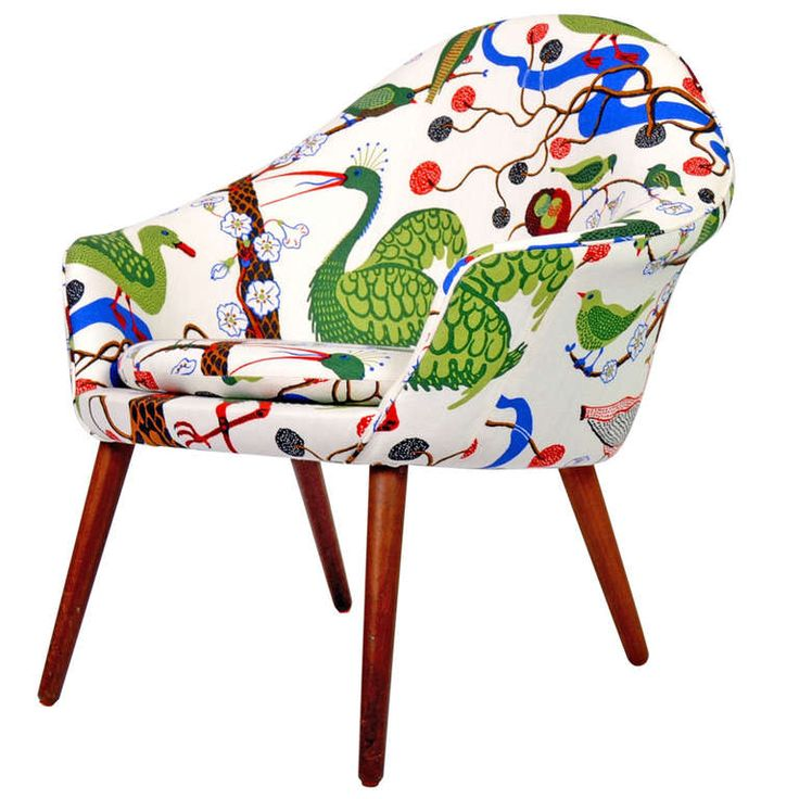 Mid Century Danish Chair Newly Upholstered with Josef Frank Textile
