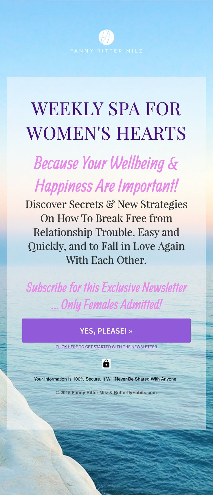 EXCLUSIVE Newsletter to Create the Amazing Love & Life You Want ... Subscription Only Admitted to Females