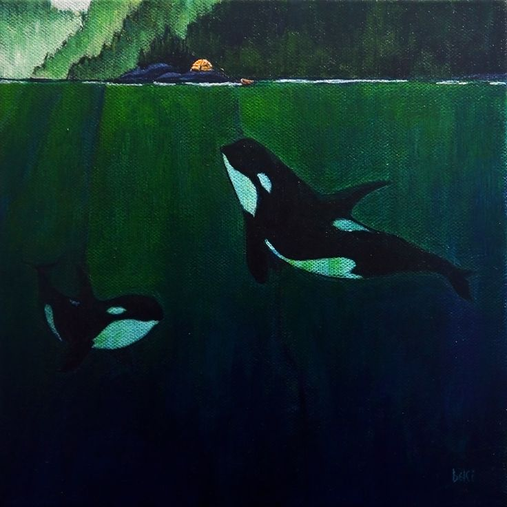 """the orcas"" 8x8"" acrylic on canvas"