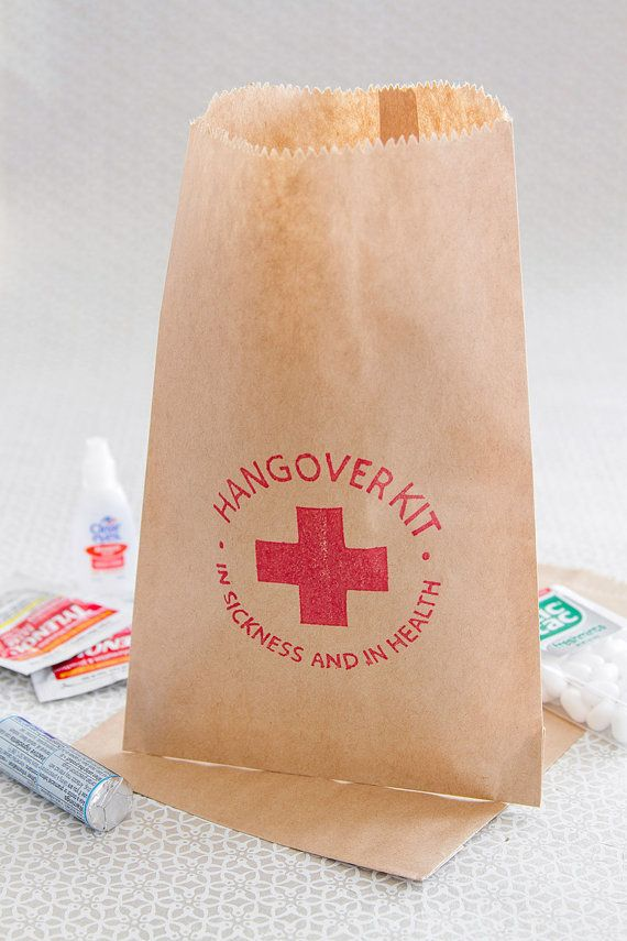 This listing includes {1} 5 x 7.5 paper kraft bag, hand stamped with our Hangover Kit - In Sickness and in Health design in red ink. {THINGS TO NOTE} >> Our custom quantity listing allows you to select the exact amount you need. Please note, this does make calculating shipping a little