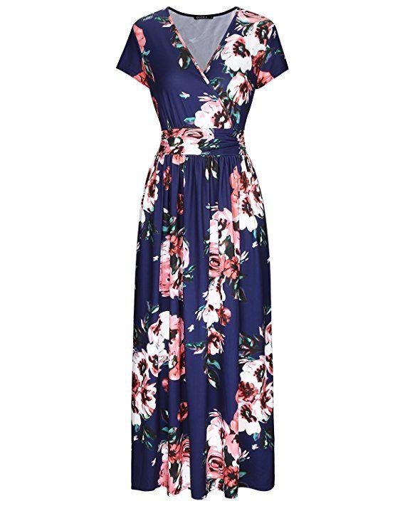 305af62d55c OUGES Women s V-Neck Pattern Pocket Maxi Long Dress