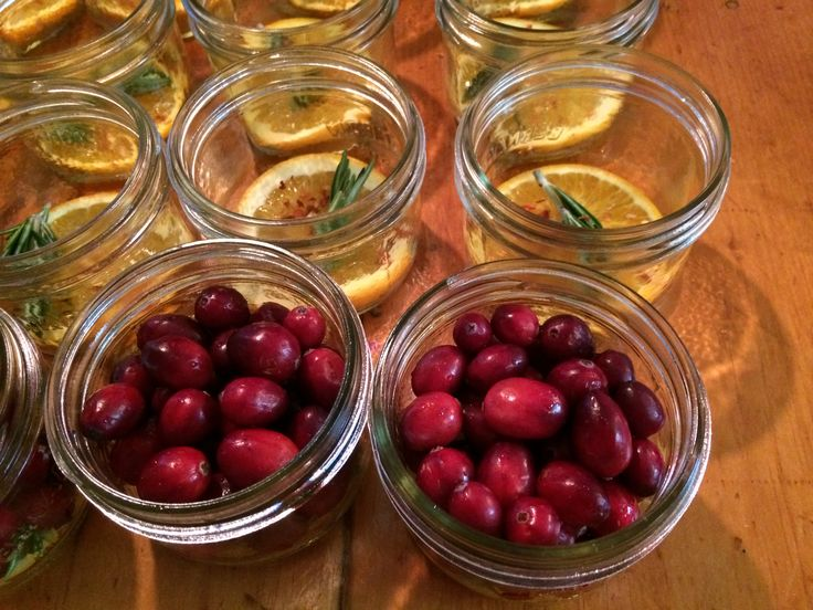 The beginning of the line and assembly for Terroni's sweet and sour Pickled Cranberries with orange, chili and rosemary.