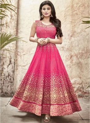 b4c406d167 Pink embroidered georgette anarkali suit with dupatta semi stitched ...