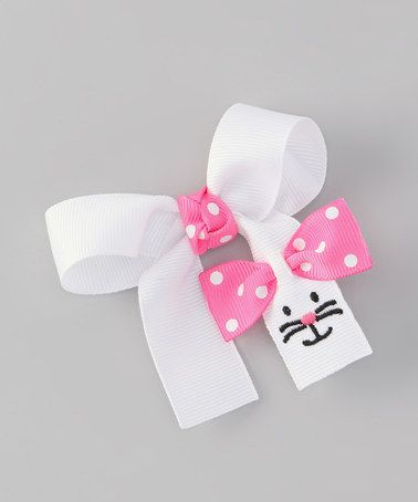 My Baby Love White & Pink Bunny Hair Bow