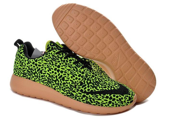 2014 Korting Verkopen Nederland Roshe Run FB Yeezy Nike Herenschoenen Luipaard Print/Lime/Zwart
