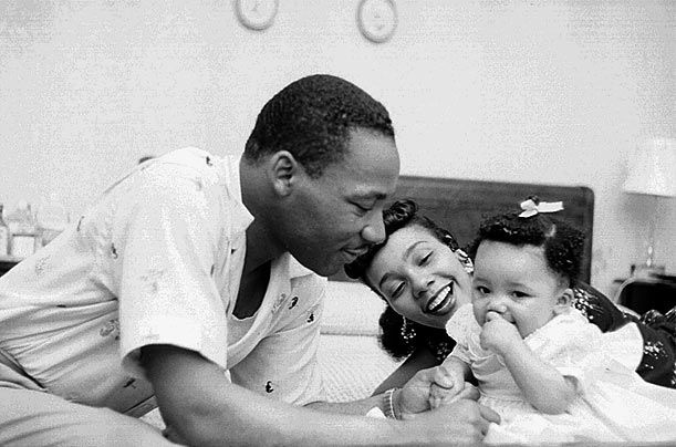The Kings at Home  -  Born in Atlanta, Martin Luther King Jr. moved to Montgomery, Ala., with his new wife Coretta in 1955 after King accepted a position as pastor of the Dexter Avenue Baptist Church. King met Coretta while he was studying for his Ph.D. at Boston University and they were married in June 1953. Yolanda, their first child, above, was born in November 1955.