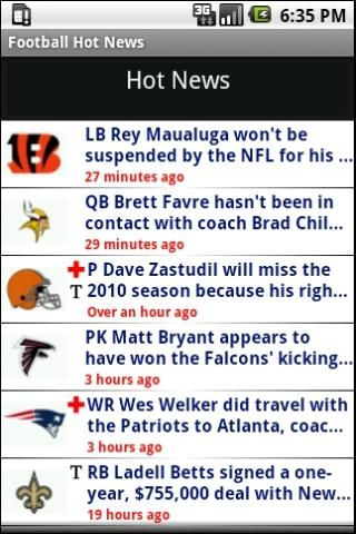 NFL news from real NFL writers, around the clock.<p>While others aggregate, The Sports Xchange brings you news straight from our professional football writers on the scene with every team.<p>-NFL news from the AFC and NFC<br>-Injuries<br>-Transactions<br>