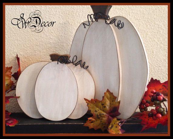 White Pumpkin, Thanksgiving decor, Wood Pumpkins Rustic Wood Pumpkin, Wooden…