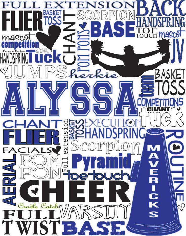 cheer gift Cheerleading Personalized Typography