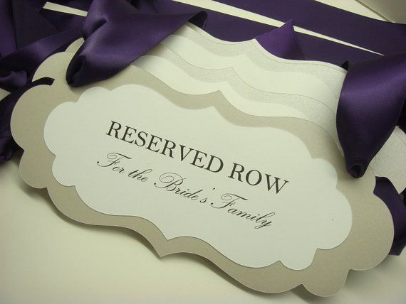 Reserved Wedding Ceremony Seating Signs to Reserve by wedology