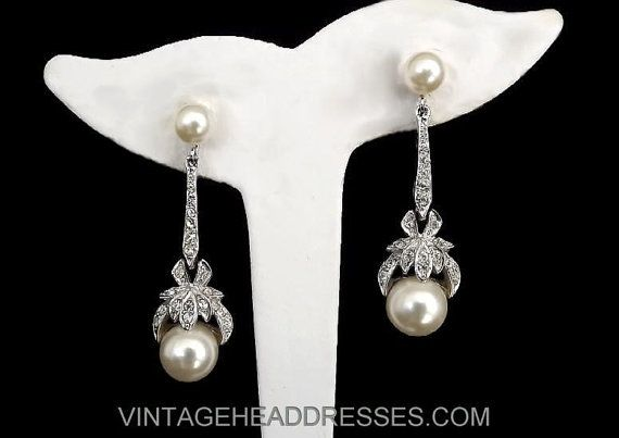 Art Deco Earrings - Vintage Paste & Pearl Earrings - Vintage Rhinestone and Pearl Earrings - Diamante Bridal Earrings - Flapper - Wedding