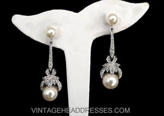 Art Deco Earrings - Vintage Paste & Pearl Earrings - Vintage Rhinestone and Pearl Earrings - Diamante Bridal Earrings - Flapper - Wedding