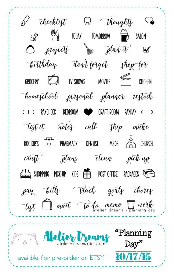 Ad 024 planning day planner stamps photopolymer clear stamps planning everyday kawaii stamps clear stamps daily stamps
