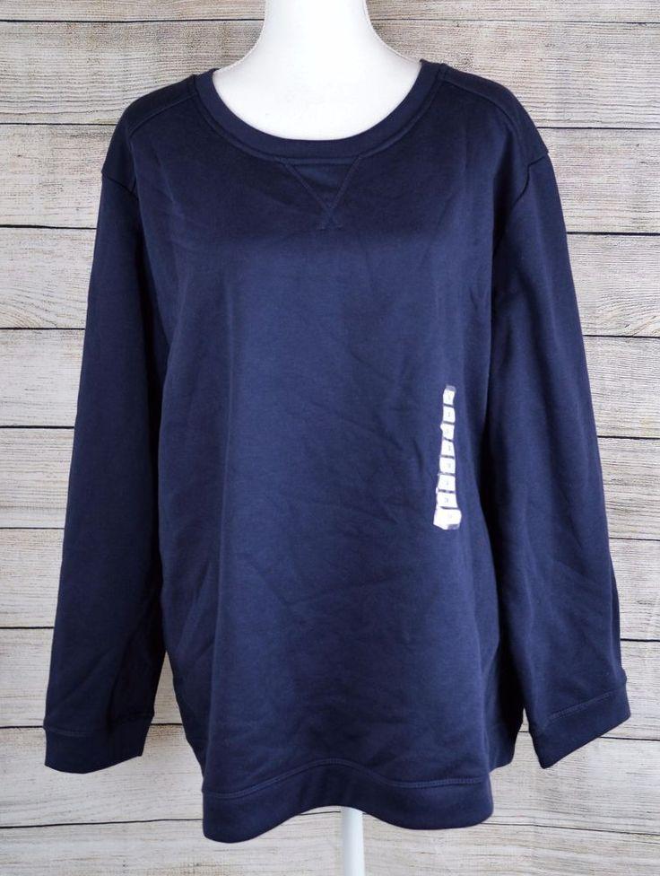 Karen Scott Sport Pullover Crewneck Sweatshirt Sweater Solid Navy Plus Size 3X  #KarenScottSport #SweatshirtCrew